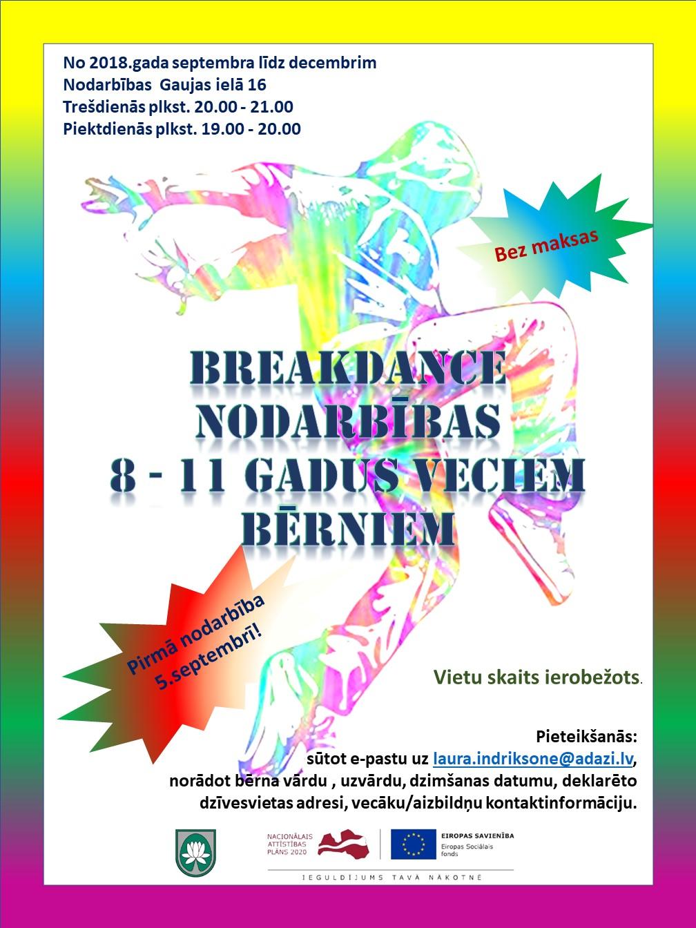 bc924f56016 Pirmdien, 20.augustā plkst.9.00, sāksies pieteikšanās mākslas vingrošanas  un breakdance nodarbībām bērniem