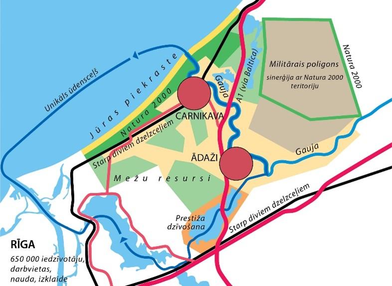 karte ar Ādažu novadu